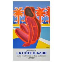 Original Vintage French Railways Poster By Bernard Villemot For The Cote d'Azur