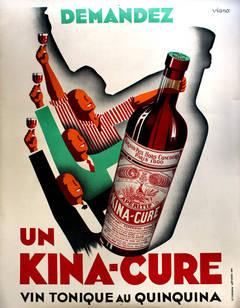 Large Original 1930s Art Deco Advertising Poster For Kina-Cure Aperitif Wine