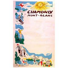 Original vintage mid century poster for Chamonix Mont Blanc (skiing, golf etc.)