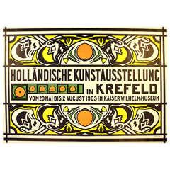 """Original Dutch Art Nouveau exhibition poster, """"Hollandische Kunstausstellung"""""""
