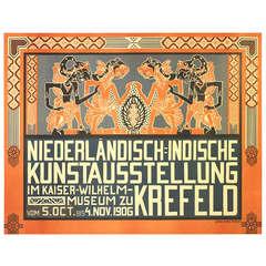 Original Antique Art Nouveau Poster For A Dutch East Indies Indonesia Exhibition