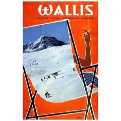 Original vintage skiing poster for Valais Switzerland - Klein Matterhorn Zermatt