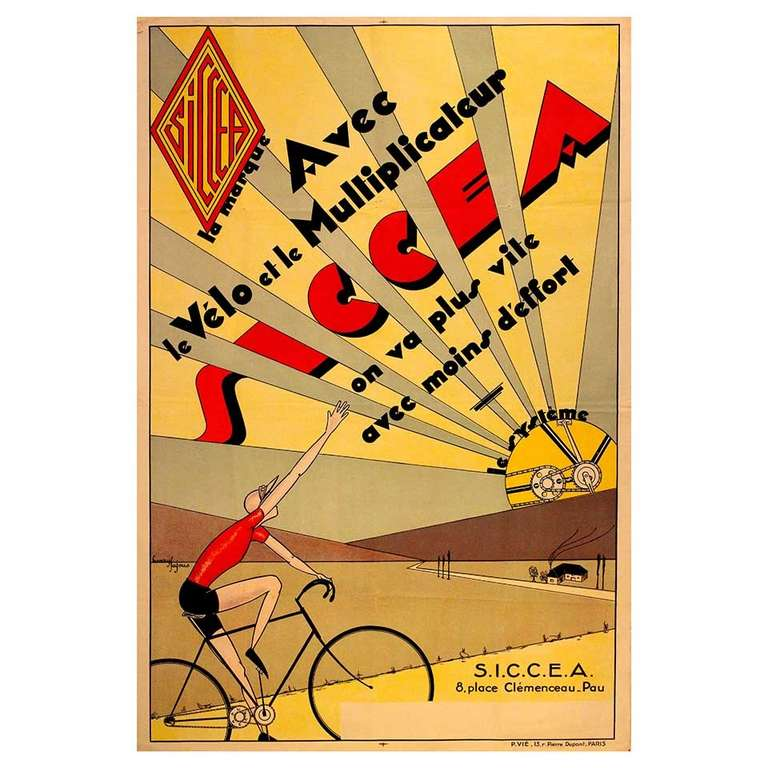 original vintage deco cycling poster advertising siccea bicycle systems for sale at 1stdibs