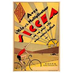 Original Vintage Art Deco Cycling Poster Advertising Siccea Bicycle Systems