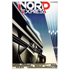 Vintage 1980 Lithograph Reissue Steam Train Poster By Cassandre - Nord Express