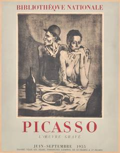 Original Vintage Exhibition Poster Featuring The Frugal Meal By Pablo Picasso