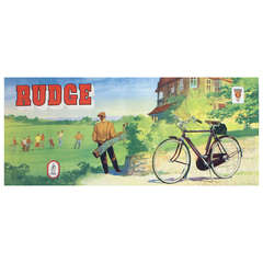 Original Vintage Poster for Rudge Bicycles Featuring a Game of Golf