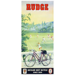 Original Vintage Poster for Rudge Bicycles Featuring a Game of Tennis