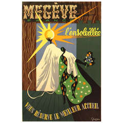 Original Vintage Travel Poster Advertising the Megeve Ski Resort in France