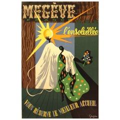 Original Vintage Travel Poster Advertising the Megeve Ski Resort in France