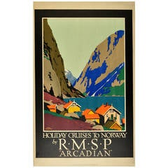Original Travel Poster by Frank Newbould Advertising Holiday Cruises to Norway