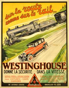 Original 1930s Advertising Poster For Westinghouse - Dynamic Car And Train Image