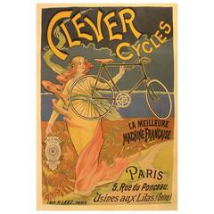 Original French Antique Art Nouveau Bicycle Advertising Poster For Clever Cycles