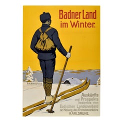 Rare Early, Original Vintage Skiing Poster Promoting Winter in Baden
