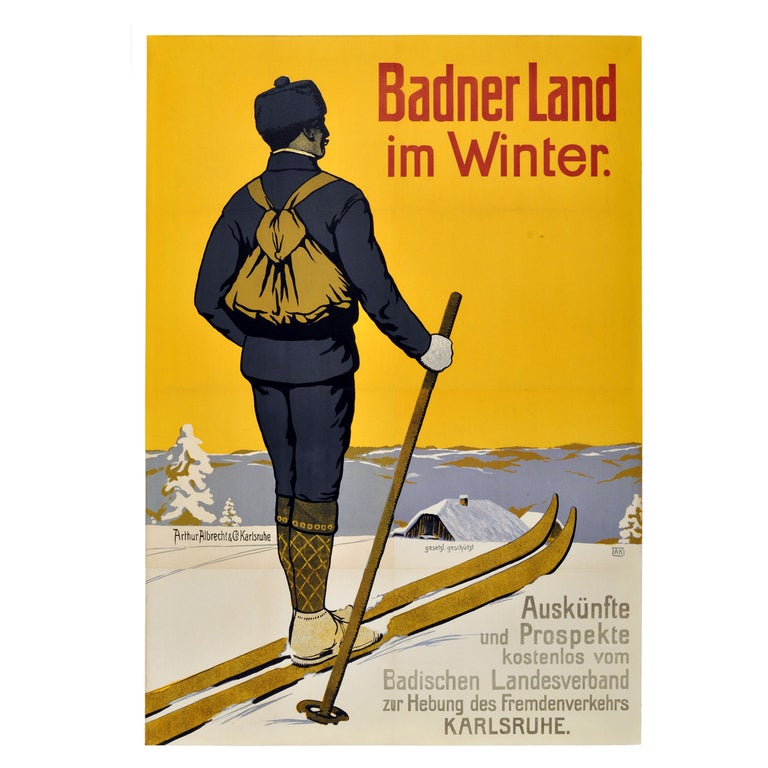 Rare Early, Original Vintage Skiing Poster Promoting Winter in Baden For Sale