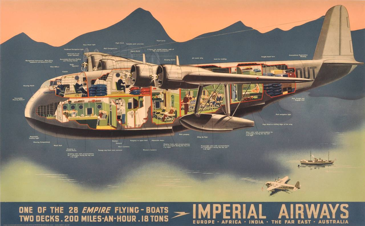 Original Vintage Travel Advertising Poster Imperial