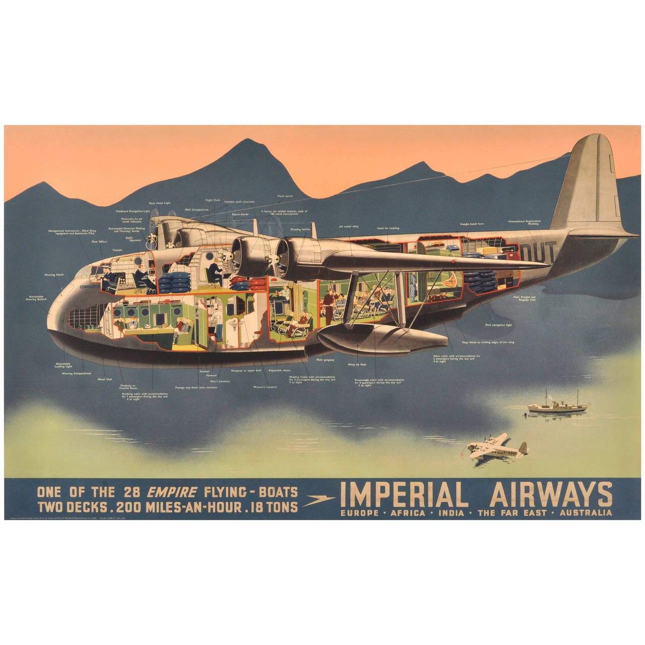 Original Vintage Travel Advertising Poster Imperial