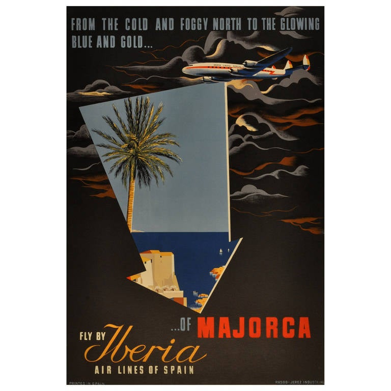 """Original Vintage Travel Advertising Poster """"Fly By Iberia"""