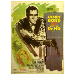 Original Vintage 007 Movie Poster for Dr. No Starring Sean Connery as James Bond