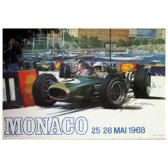 Original Vintage Poster for the Monaco Grand Prix Formula One, 25-26 May 1968