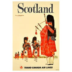 Original Vintage Travel Poster Advertising Scotland by Trans-Canada Airlines