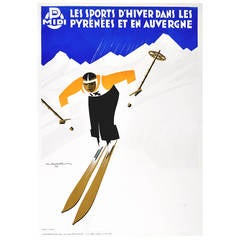 Original Vintage Art Deco Ski Poster, Winter Sport in the Pyrenees and Auvergne