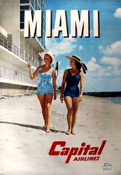 Original Vintage Travel Advertising Poster For Miami Florida By Capital Airlines