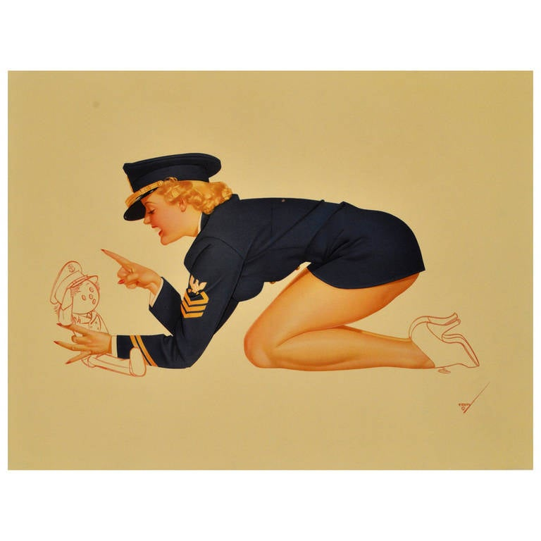 original vintage wwii pin up poster by george petty for the air force at 1stdibs. Black Bedroom Furniture Sets. Home Design Ideas