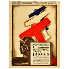 Original Vintage Art Deco French Pilots Recruitment Poster by Ministry of War