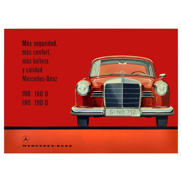 rare original vintage mercedes benz advertising poster for