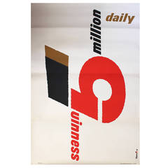 Original 1958 Modernist Design Advertising Poster for Guinness by Abram Games