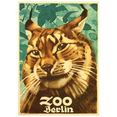 Original Vintage 1930s Poster for Berlin Zoo Featuring a Lynx by Ludwig Hohlwein