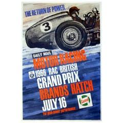 "Original Vintage Motor Racing Poster, ""1966 British Grand Prix, Brands Hatch"""