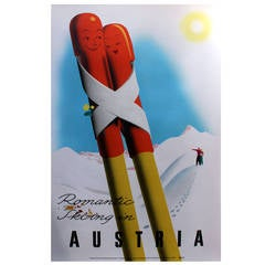 "Original Vintage Winter Sports Poster, ""Romantic Skiing in Austria"""