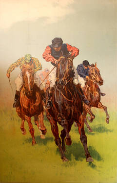 Original Antique Horse Racing Poster Featuring A Group Of Jockeys In A Race