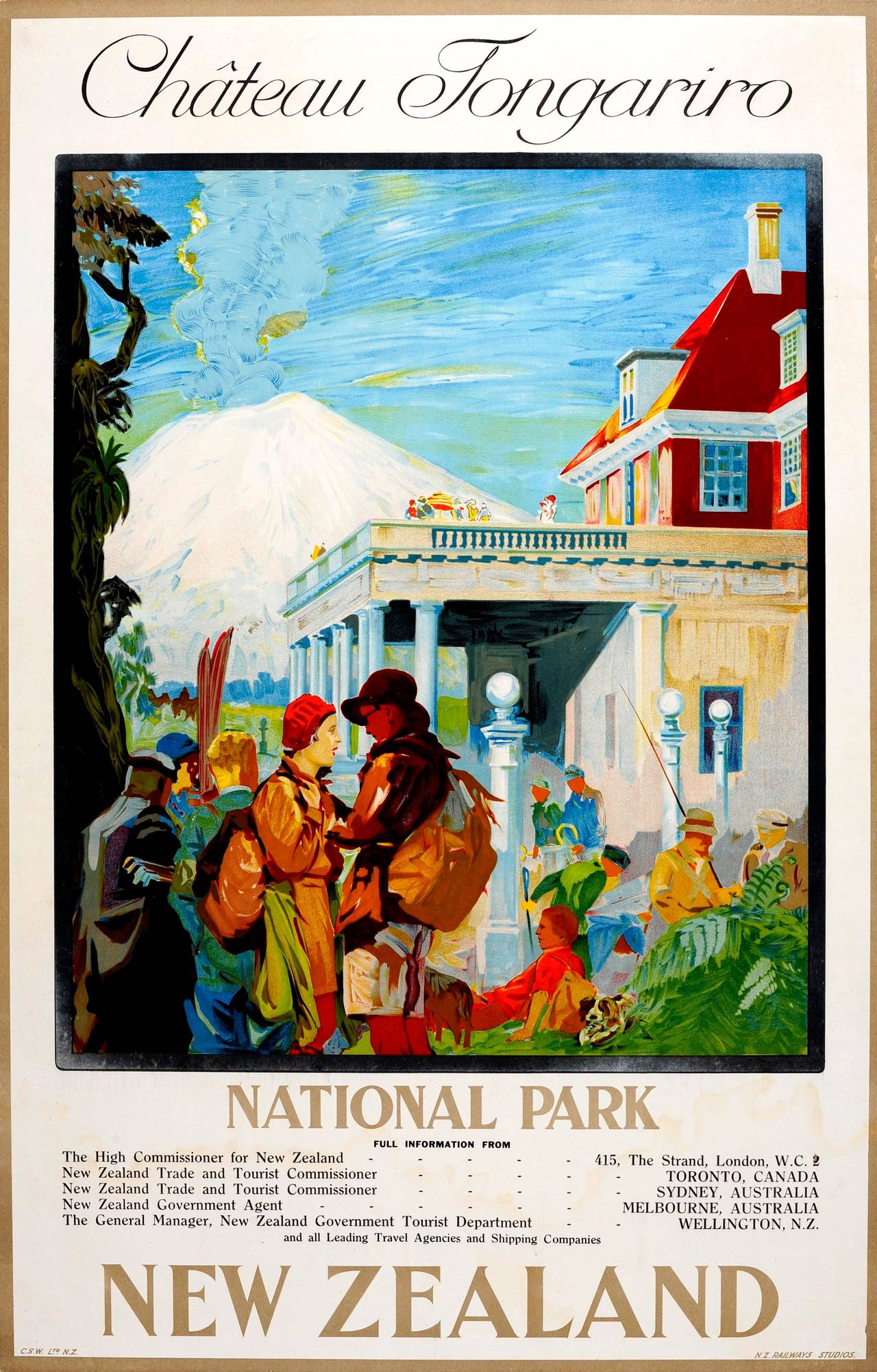 Original 1920s Travel Poster For Chateau Tongariro