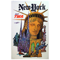 Original Vintage Travel Poster Advertising New York by TWA David Klein