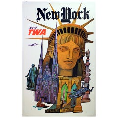 Original Vintage Travel Poster By David Klein New York Fly TWA Statue Of Liberty