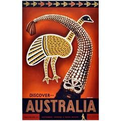 "Original Vintage Poster, ""Discover Australia"" Traditional Aboriginal Art Design"