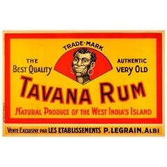 Original Vintage Drink Advertising Poster for Tavana Rum