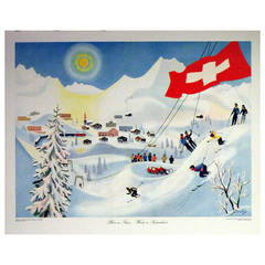 Set of Four Original Vintage Posters Featuring Switzerland in Every Season