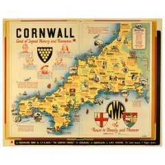 Original Vintage Railway Poster for Cornwall Land of Legend, History and Romance