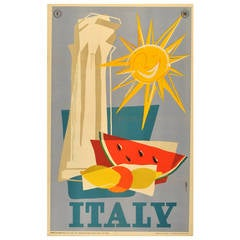 Original Vintage Travel Advertising Poster for Italy