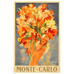 1940s travel advertising poster by Domergue: Monte Carlo - Flower Girl