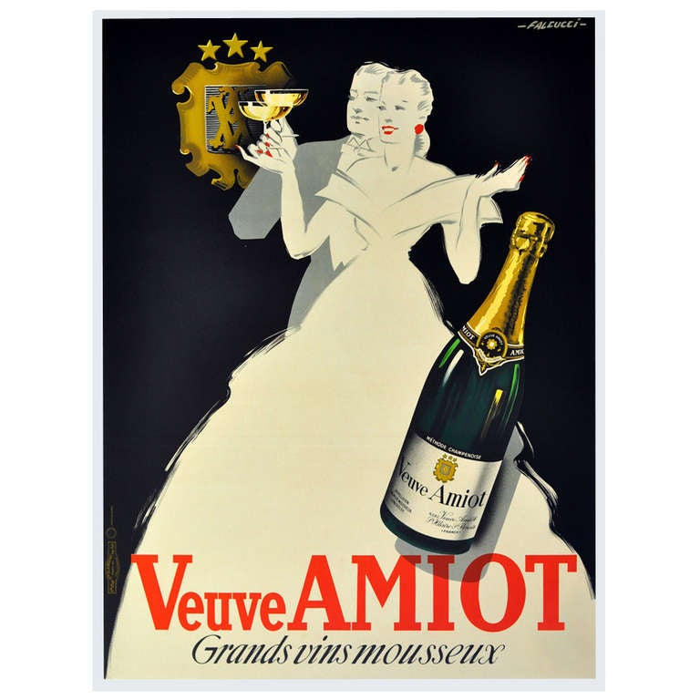 1930s Art Deco champagne poster by Falcucci: Veuve Amiot ...