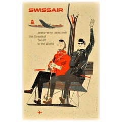 Mid-century skiing poster: Swissair - the greatest ski lift in the world