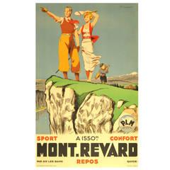 Original Vintage 1930s Poster for Mont Revard in Savoie, France by Paul Ordner