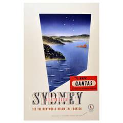 Original vintage 1930s travel advertising poster: Sydney, Australia - Fly Qantas