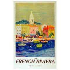 Original vintage travel advertising poster: The French Riviera, French Railways