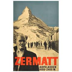 Original vintage 1934 ski poster for Zermatt, Switzerland, featuring Otto Furrer